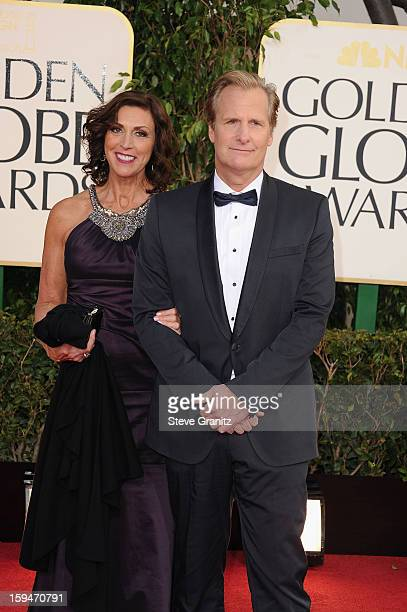Actor Jeff Daniels and wife Kathleen Rosemary Treado arrive at the 70th Annual Golden Globe Awards held at The Beverly Hilton Hotel on January 13...