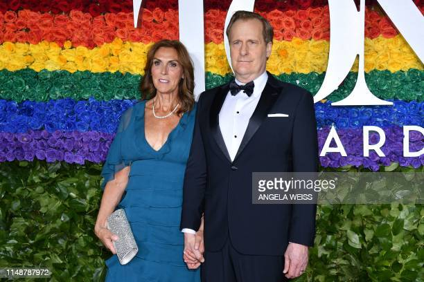 US actor Jeff Daniels and wife Kathleen Rosemary Treado attend the 73rd Annual Tony Awards at Radio City Music Hall on June 9 2019 in New York City