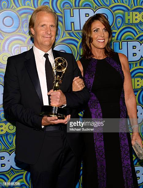Actor Jeff Daniels winner of Outstanding Lead Actor in a Drama Serie for 'The Newsroom' and his wife Kathleen Treado attend HBO's Annual Primetime...