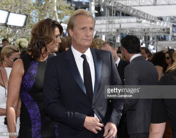Actor Jeff Daniels with his wife Kathleen Treado arrive at the 65th Annual Primetime Emmy Awards held at Nokia Theatre LA Live on September 22 2013...