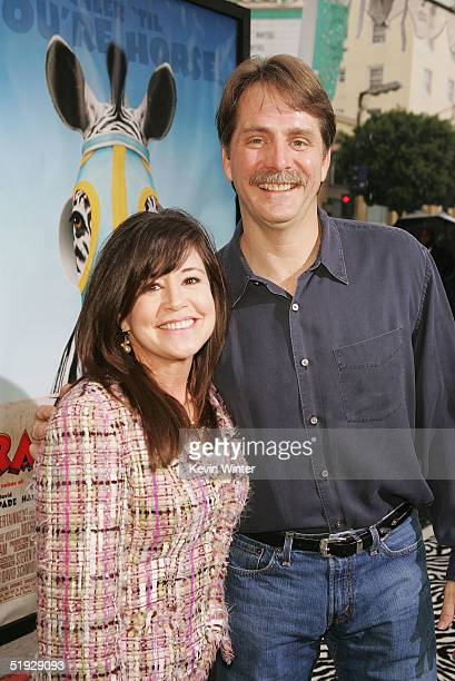Actor Jeff Foxworthy and his wife Gregg arrive at the premiere of Warner Bros' Racing Stripes at the Chinese Theater on January 8 2005 in Los Angeles...