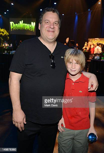 Actor Jeff Garlin and son Duke Garlin attend the ParaNorman Los Angeles premiere party held at the Globe Theatre at Universal Studios Hollywood on...