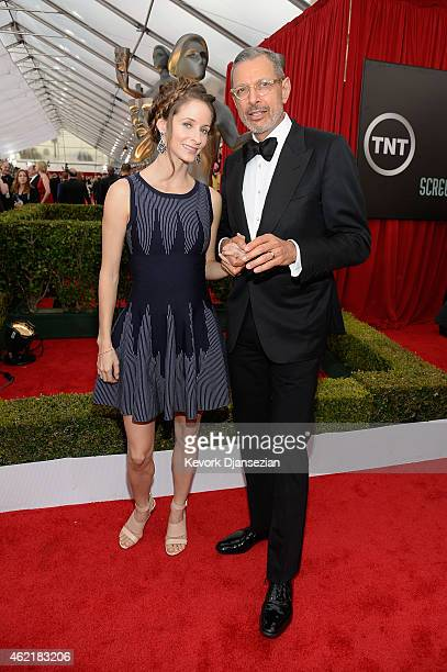 Actor Jeff Goldblum and dancer Emilie Livingston attend the 21st Annual Screen Actors Guild Awards at The Shrine Auditorium on January 25 2015 in Los...