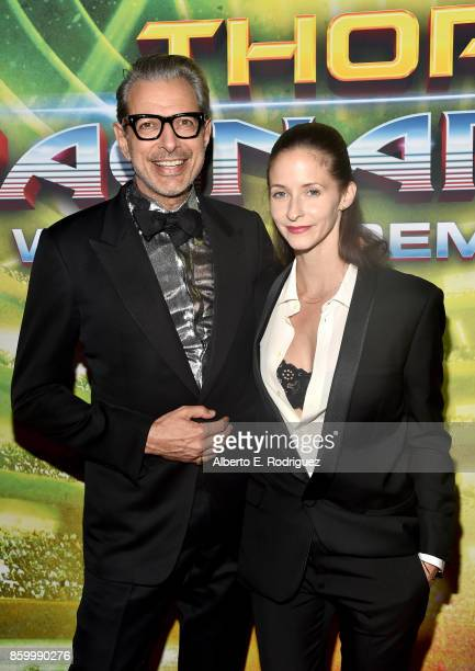 Actor Jeff Goldblum and Emilie Livingston at The World Premiere of Marvel Studios' 'Thor Ragnarok' at the El Capitan Theatre on October 10 2017 in...