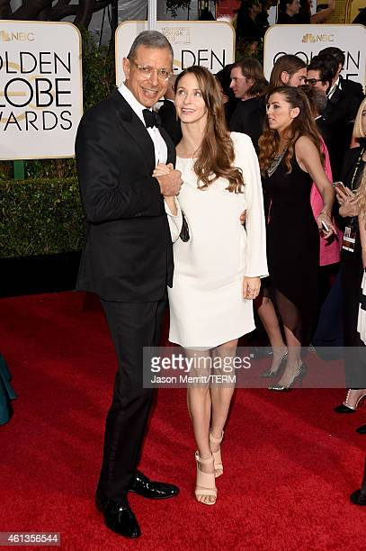 Actor Jeff Goldblum and Emilie LivingstonGoldblum attend the 72nd Annual Golden Globe Awards at The Beverly Hilton Hotel on January 11 2015 in...