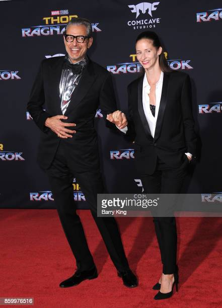 Actor Jeff Goldblum and wife Emilie Livingston attend the world premiere of Disney and Marvel's 'Thor Ragnarok' at El Capitan Theatre on October 10...