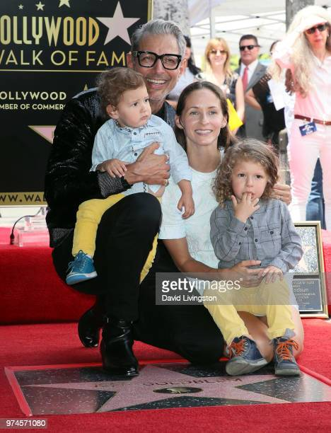Actor Jeff Goldblum and wife Emilie Livingston pose with children River Joe Goldblum and Charlie Ocean Goldblum at Jeff Goldblum being honored with a...