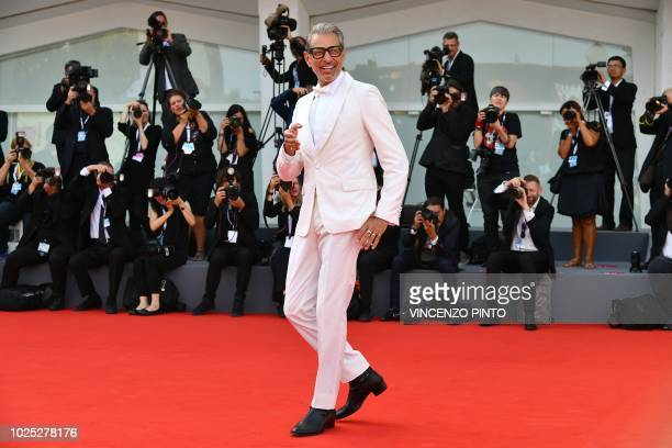 TOPSHOT Actor Jeff Goldblum arrives for the premiere of the film The Mountain presented in competition on August 30 2018 during the 75th Venice Film...