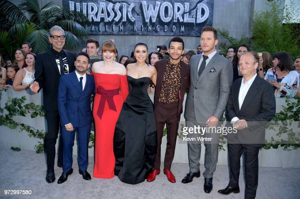 Actor Jeff Goldblum director JA Bayona actors Bryce Dallas Howard Daniella Pineda Justice Smith Chris Pratt and Toby Jones arrives at the premiere of...