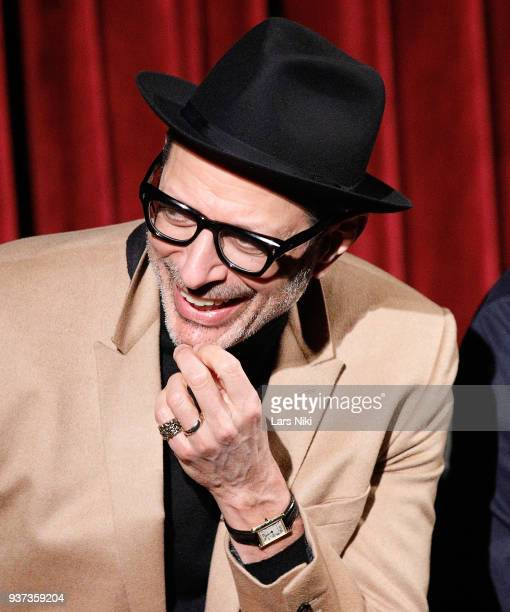 Actor Jeff Goldblum on stage during The Academy of Motion Picture Arts Sciences Official Academy Screening of Isle of Dogs at the MOMA Celeste Bartos...