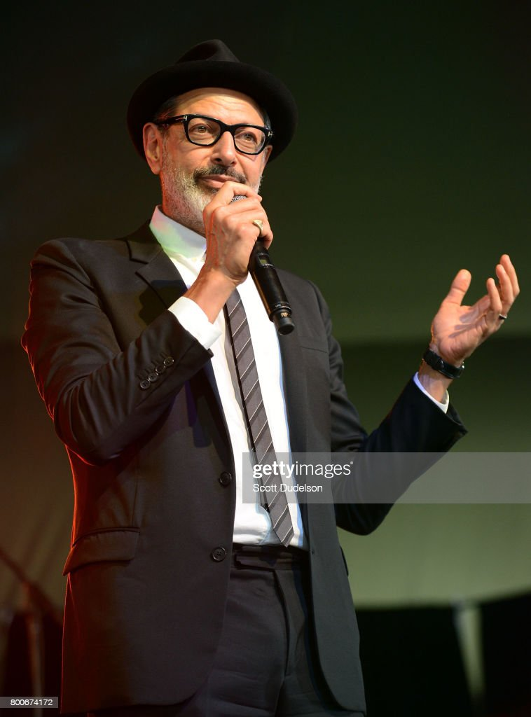 Actor Jeff Goldblum performs onstage with his jazz ensemble during Arroyo Seco Weekend at the Brookside Golf Course on June 24, 2017 in Pasadena, California.