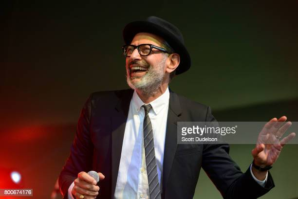 Actor Jeff Goldblum performs onstage with his jazz ensemble during Arroyo Seco Weekend at the Brookside Golf Course on June 24 2017 in Pasadena...