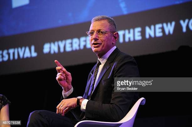 Actor Jeff Goldblum speaks on stage at Jeff Goldblum in Conversation with Larissa MacFarquhar at the MasterCard stage at SVA Theatre during The New...