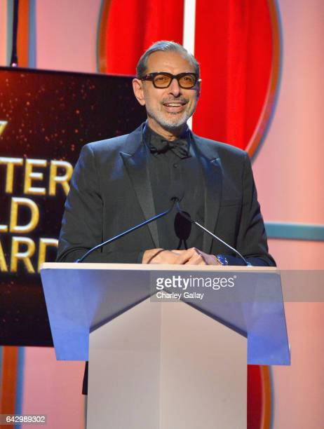 Actor Jeff Goldblum speaks onstage during the 2017 Writers Guild Awards LA Ceremony at The Beverly Hilton Hotel on February 19 2017 in Beverly Hills...