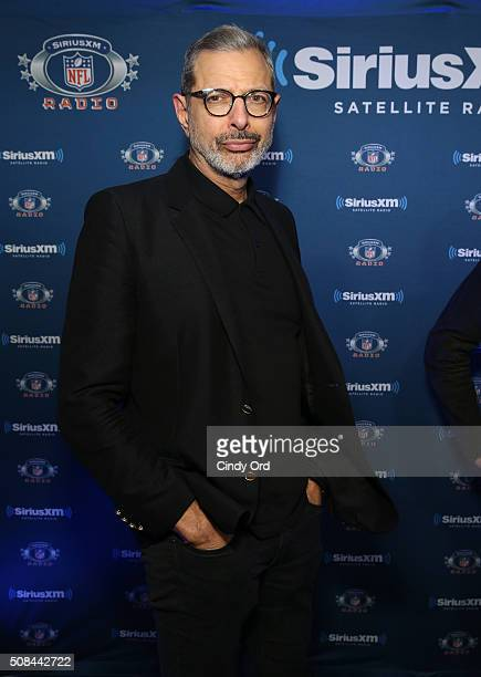 Actor Jeff Goldblum visits the SiriusXM set at Super Bowl 50 Radio Row at the Moscone Center on February 4 2016 in San Francisco California