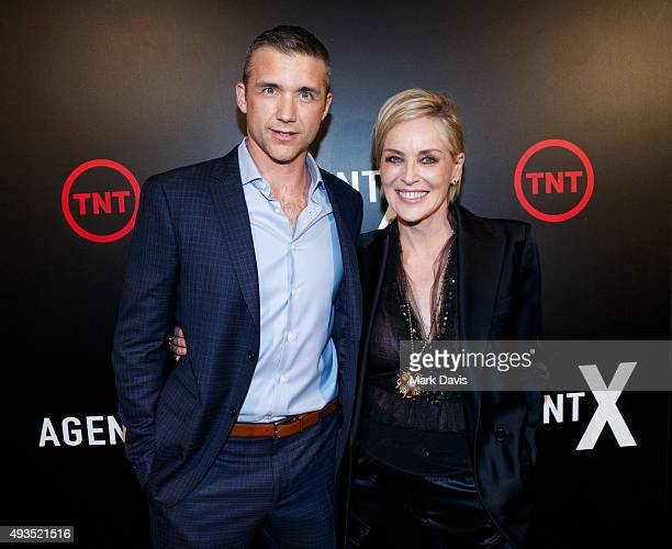 Actor Jeff Hephner and actress Sharon Stone attend the premiere of TNT's 'Agent X' at The London West Hollywood on October 20 2015 in West Hollywood...