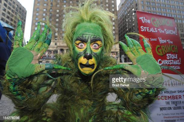 Actor Jeff McCarthy as The Grinch attends The Grinch Takes Over Madison Square Garden And Kicks Of Children Holiday Book Drive at Plaza at Madison...
