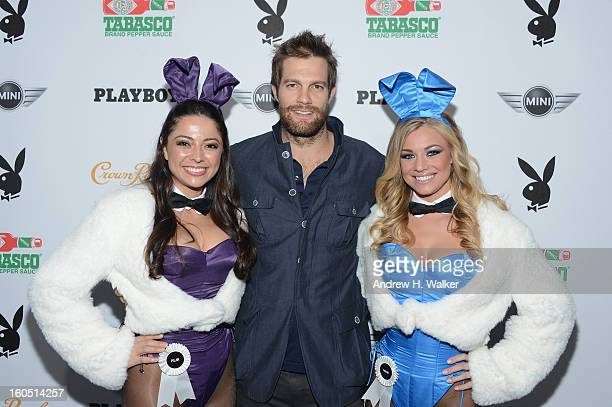 Actor Jeff Stoltz and Playboy Playmates Pilar Lastra and Nikki Leigh attend The Playboy Party Presented by Crown Royal on February 1 2013 in New...