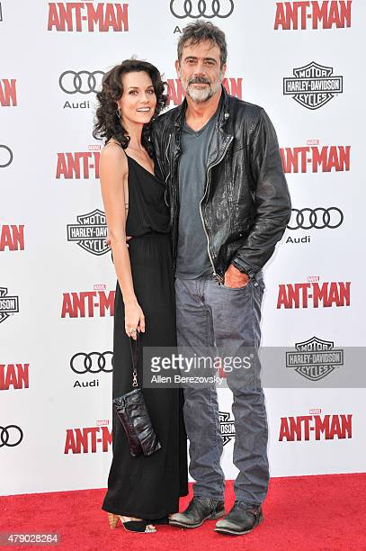Actor Jeffrey Dean Morgan and Hilarie Burton arrive at the Los Angeles Premiere of Marvel Studios AntMan at Dolby Theatre on June 29 2015 in...