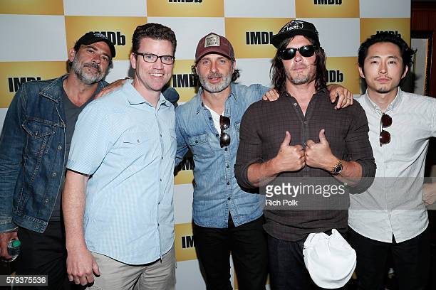 Actor Jeffrey Dean Morgan COO of IMDb Rob Grady actors Andrew Lincoln Norman Reedus and Steven Yeun of The Walking Deadattend the IMDb Yacht at San...