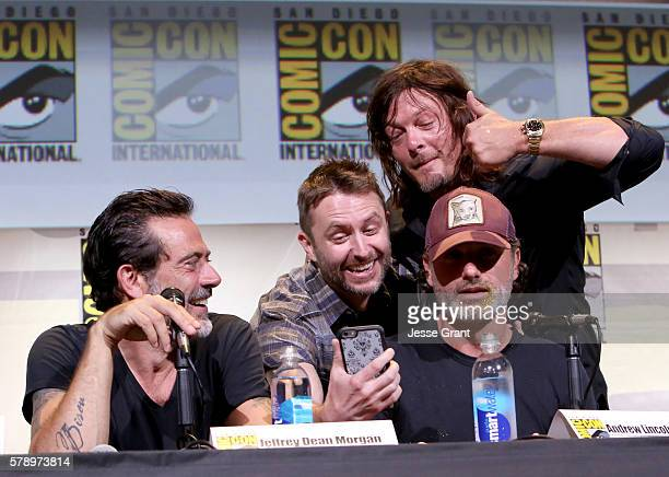 Actor Jeffrey Dean Morgan moderator Chris Hardwick actors Andrew Lincoln and Norman Reedus attend AMC's 'The Walking Dead' Panel during ComicCon...