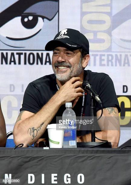 "Actor Jeffrey Dean Morgan speaks onstage at the ""The Walking Dead"" panel during Comic-Con International 2017 at San Diego Convention Center on July..."