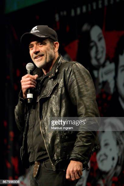 Actor Jeffrey Dean Morgan speaks onstage during the 2017 Walker Stalker Con Atlanta at Georgia World Congress Center on October 29, 2017 in Atlanta,...