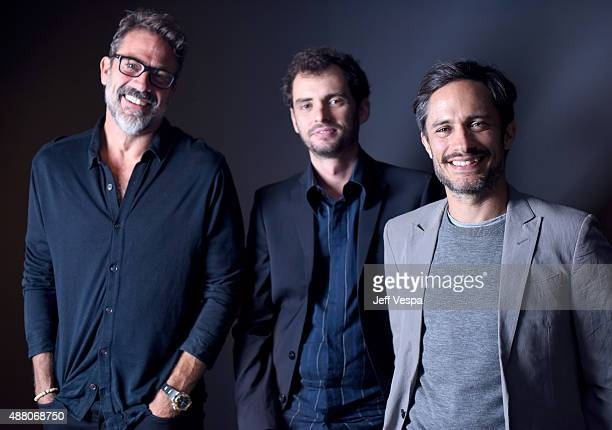 Actor Jeffrey Dean Morgan writer/director Jonas Cuaron and actor Gael Garcia Bernal from Desierto pose for a portrait during the 2015 Toronto...