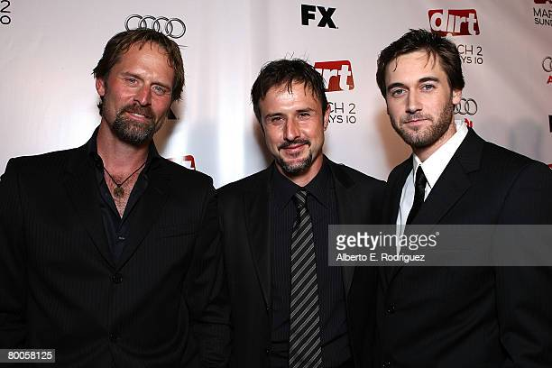 Actor Jeffrey Nordling actor David Arquette and actor Ryan Eggold arrive at the 2nd season premiere screening of FX Network's Dirt held at the...