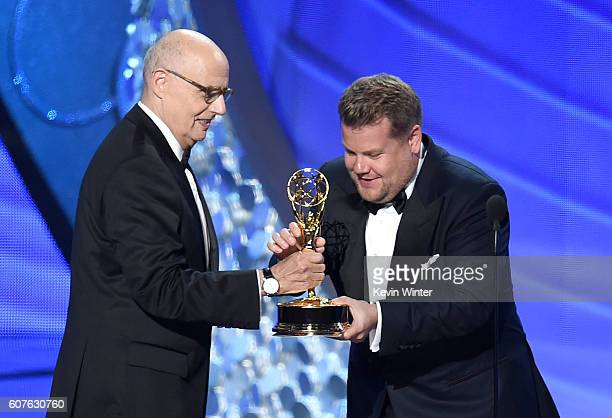 Actor Jeffrey Tambor accepts Outstanding Lead Actor in a Comedy Series for 'Transparent' from TV personality James Corden onstage during the 68th...