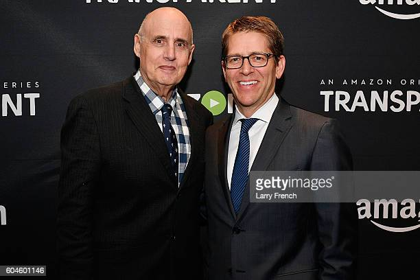 """Actor Jeffrey Tambor and Amazon's Senior Vice President for Global Corporate Affairs Jay Carney attend the Amazon """"Transparent"""" Screening on..."""