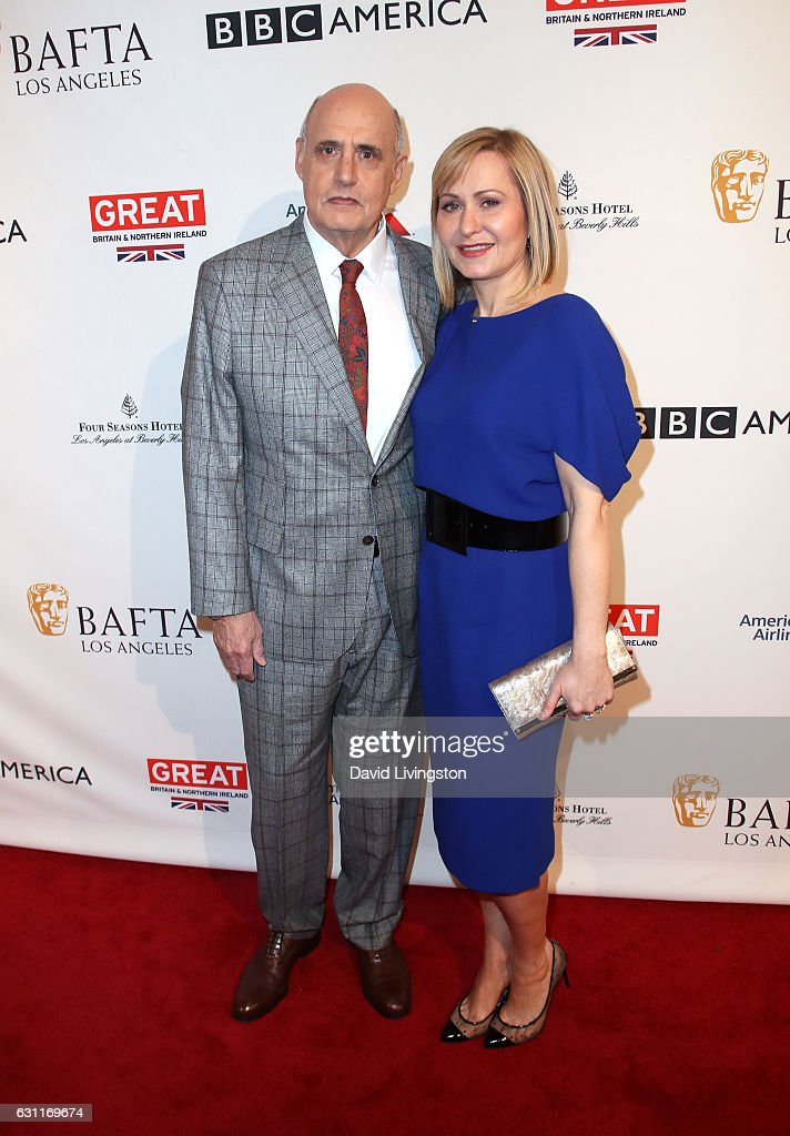 Actor Jeffrey Tambor (L) and Kasia Ostlun attend The BAFTA Tea Party at Four Seasons Hotel Los Angeles at Beverly Hills on January 7, 2017 in Los Angeles, California.