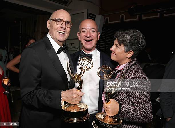 Actor Jeffrey Tambor Jeff Bezos CEO of Amazoncom Inc and Writer/director Jill Soloway attend Amazon's Emmy Celebration at Sunset Tower Hotel West...