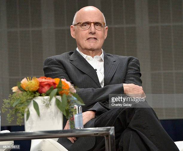 Actor Jeffrey Tambor speaks onstage during the 'Transparent' panel discussion at the Amazon Studios portion of the 2015 Summer TCA Tour on August 3...