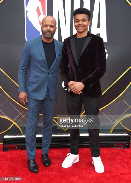 US actor Jeffrey Wright and son Elijah Wright arrive for the 2019 NBA Awards at Barker Hangar on June 24 2019 in Santa Monica California