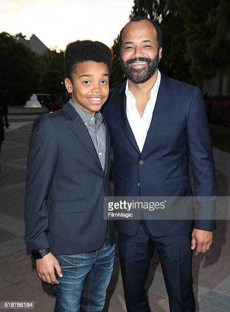 Actor Jeffrey Wright and son Elijah Wright attend the Los Angeles premiere of HBO Films' 'Confirmation' at Paramount Theater on the Paramount Studios...