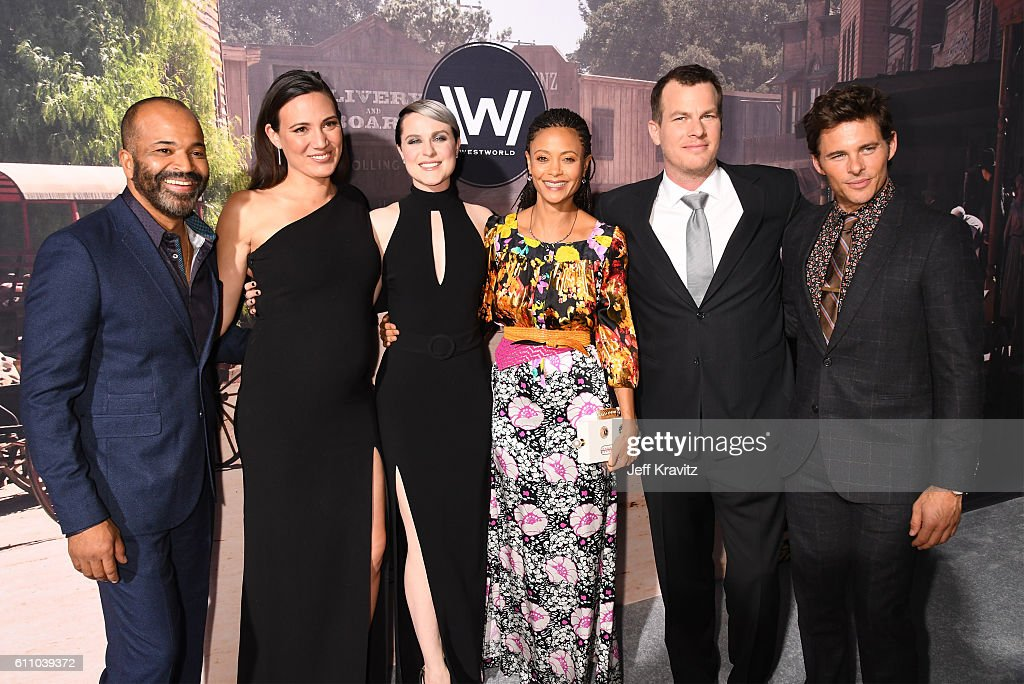Actor Jeffrey Wright, Executive producer/writer Lisa Joy, actors Evan Rachel Wood, Thandie Newton Executive producer/writer/director Jonathan Nolan, and actor James Marsden attend the premiere of HBO's 'Westworld' at TCL Chinese Theatre on September 28, 2016 in Hollywood, California.
