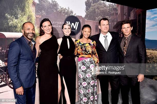Actor Jeffrey Wright Executive producer/writer Lisa Joy actors Evan Rachel Wood Thandie Newton Executive producer/writer/director Jonathan Nolan and...