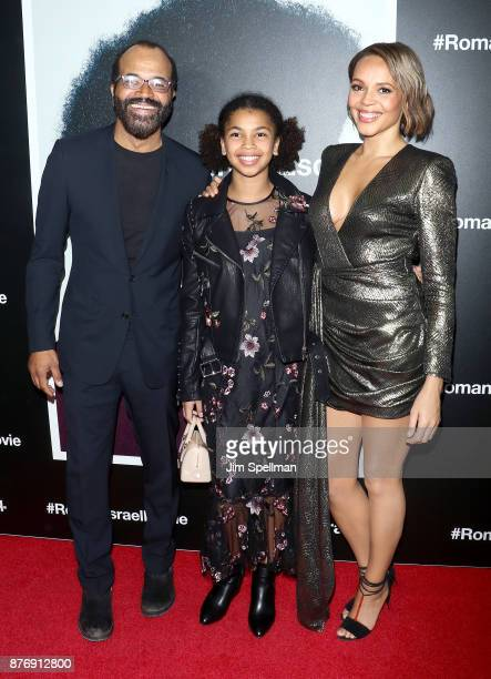 Actor Jeffrey Wright Juno Wright and actress Carmen Ejogo attend theRoman J Israel Esquire New York premiere at Henry R Luce Auditorium at Brookfield...