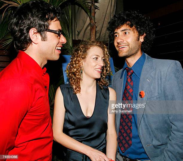 Actor Jemaine Clement actress Loren Horsley and director Taika Waititi talk at the after party for the premiere of Eagle vs Shark at The Delancy June...
