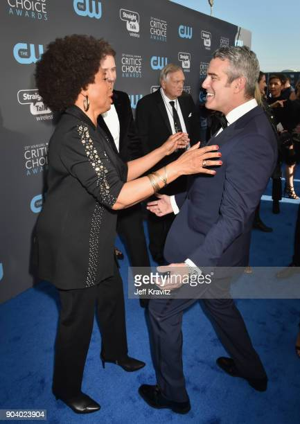 Actor Jenifer Lewis and TV personality Andy Cohen attend The 23rd Annual Critics' Choice Awards at Barker Hangar on January 11, 2018 in Santa Monica,...