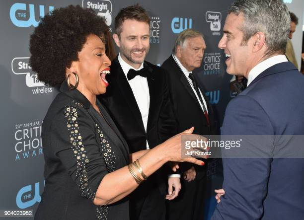 Actor Jenifer Lewis, comedian Chris Hardwick, and TV personality Andy Cohen attend The 23rd Annual Critics' Choice Awards at Barker Hangar on January...
