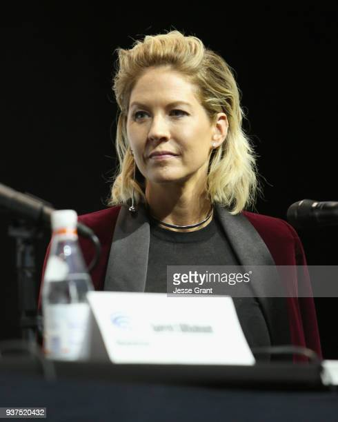 Actor Jenna Elfman speaks onstage during AMC's 'Fear of the Walking Dead' panel at WonderCon at Anaheim Convention Center on March 24 2018 in Anaheim...