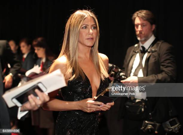 Actor Jennifer Aniston backstage during the 89th Annual Academy Awards at Hollywood Highland Center on February 26 2017 in Hollywood California