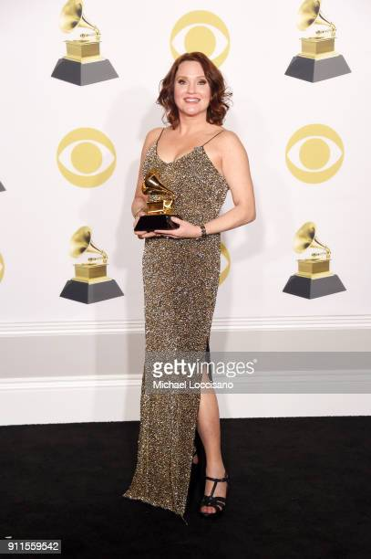 Actor Jennifer Laura Thompson winner of the Best Musical Theater Album award for 'Dear Evan Hansen' poses in the press room during the 60th Annual...