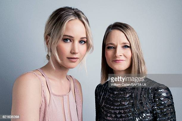 Actor Jennifer Lawrence is photographed with actor and filmmaker Jodie Foster poses for a portrait at the 2016 AMD British Academy Britannia Awards...