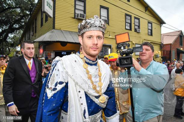 Actor Jensen Ackles King Bacchus LI prepares to lead the Krewe of Bachhus 51st annual parade on March 3 2019 in New Orleans Louisiana