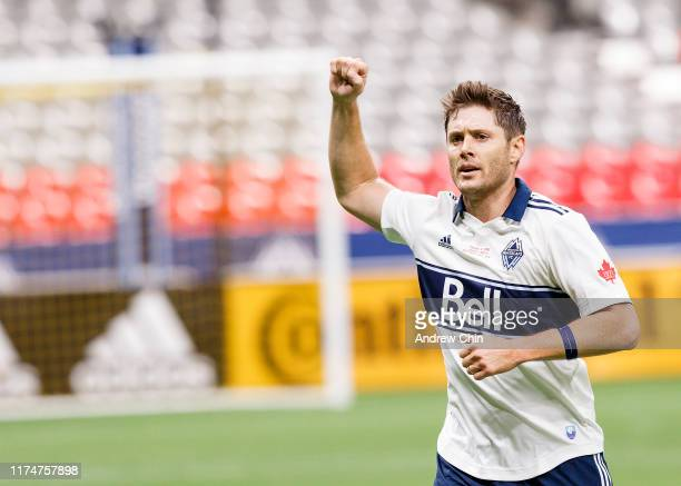 Actor Jensen Ackles scores a goal during the Vancouver Whitecaps FC Legends And Stars Charity Soccer Match at BC Place on September 14 2019 in...
