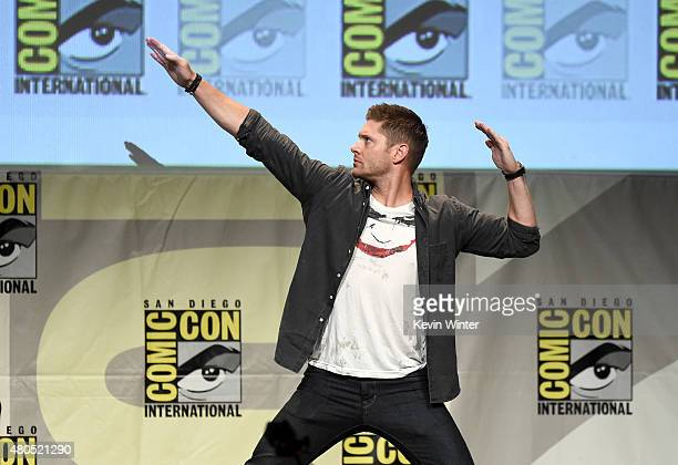 Actor Jensen Ackles speaks onstage at the Supernatural panel during ComicCon International 2015 at the San Diego Convention Center on July 12 2015 in...