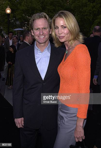 Actor Jere Burns and wife actress Kathleen Kinmont attend the premiere of the film Crocodile Dundee In Los Angeles April 18 2001 at Paramount Studios...